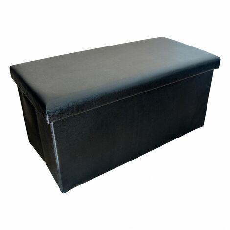 Puff Negro Plegable para Almacenaje. Diseño Original/Elegante 76x38x35cm.-Hogarymas-