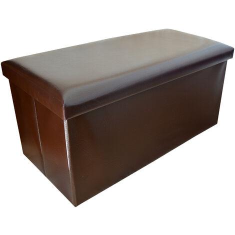 Puff Plegable para Almacenaje, color Chocolate. Diseño Original/Elegante 76x38x35cm.-Hogarymas-
