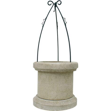 """main image of """"Puit d´eau décoratif pour le jardin en pierre reconstituée 70x70x169cm."""""""