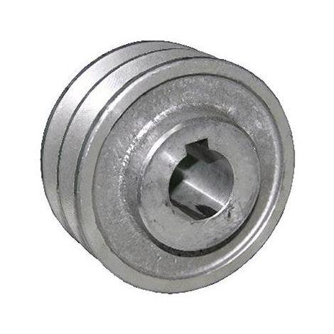 """main image of """"Puleggia in alluminio 2 Gole Foro 19 mm Diametro Esterno 58 mm Sezione A per Motore Elettrico"""""""