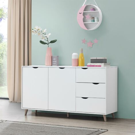 Pulford Scandi Sideboard Buffet 2 Doors 3 Drawers Storage Cabinet Cupboard White