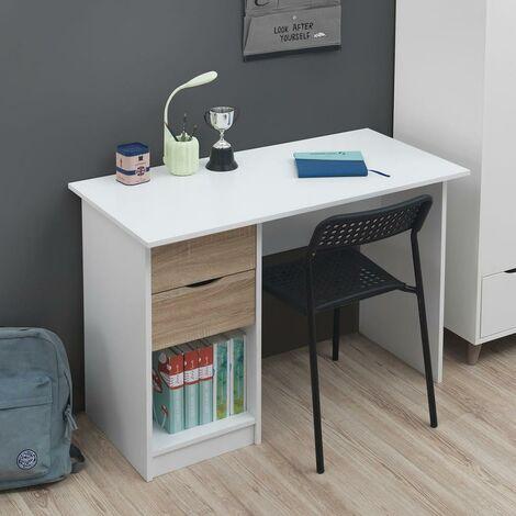 Pulford Single Pedestal Dressing Table White & Sonoma Oak 2 Drawer