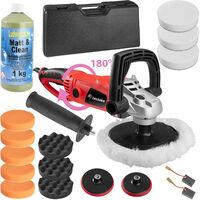 Pulidora con mango giratorio 1600W + accesorios + pasta para pulir