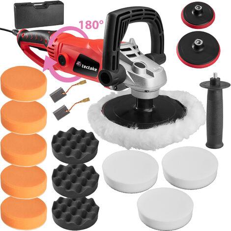 Pulidora con mango giratorio 1600W - set de máquina de pulido, máquina pulidora con conjunto de accesorios, platos de rotación con esponjas de pulido - Set de 27 piezas incl. pulidora