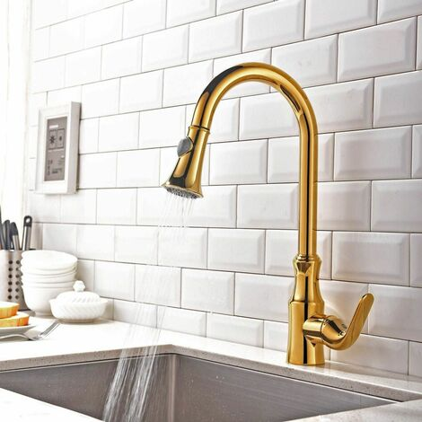 Pull-out single lever kitchen faucet in solid golden brass