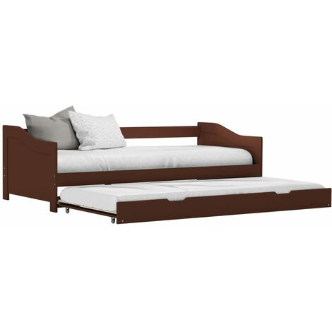 Pull-out Sofa Bed Frame Dark Brown Pinewood 90x200 cm