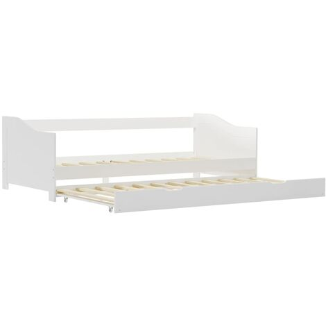 Pull-out Sofa Bed Frame White Pinewood 90x200 cm