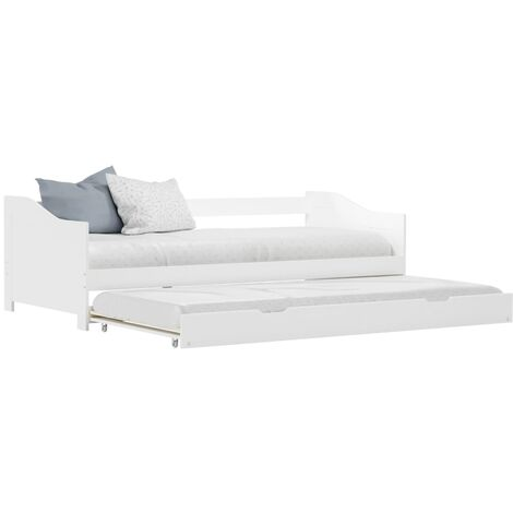 Pull-out Sofa Bed Frame White Pinewood 90x200 cm - White