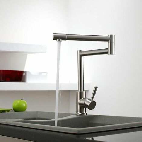 Pull-out swivel spout kitchen faucet in brushed nickel and stainless steel