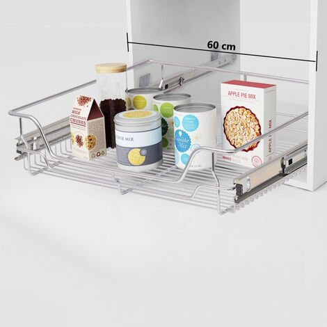 Pull-Out Wire Baskets 2 pcs Silver 600 mm - Silver