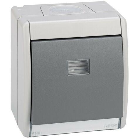 Pulsador gris 10ax 250v con luminoso IP55 Simon 44 Aqua 4490160-035