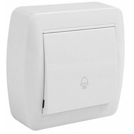 Pulsador símbolo campana de superficie monobloc blanco Solera Mural MUR03U