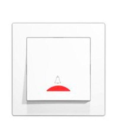Pulsador timbre con luz empotrable blanco