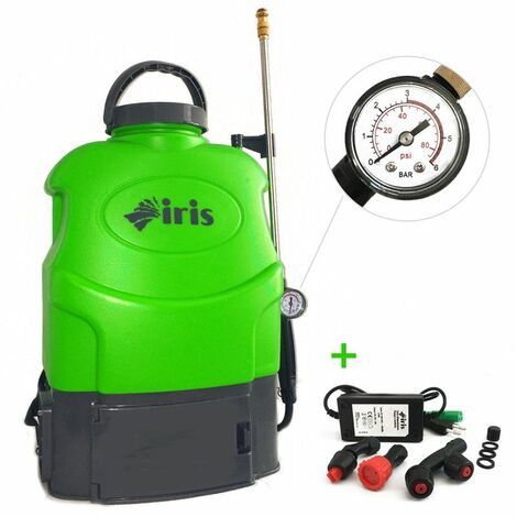 Pulvérisateur à batterie 16L IRIS Electrique Batterie lithium 12V 8 Ah Chargeur + 3 buses + Manomètre + MASQUE