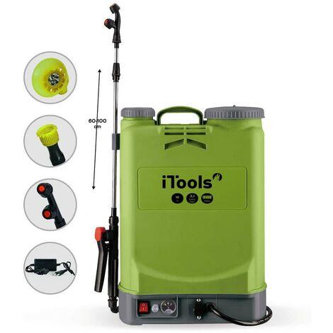 Pulvérisateur à Batterie ITOOLS 16Litres 5.5 bars Autonomie 3 Heures Chargeur + 3 buses incluses