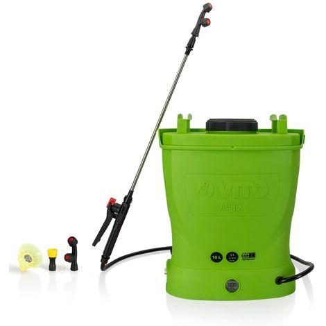 Pulvérisateur à batterie VITO 12V / 16L 6 bars max autonomie 4h chargeur inclus Végetaux jardin toitures - Vert et noir
