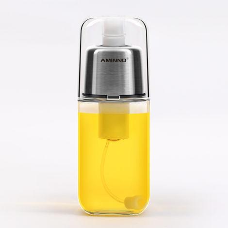 Pulvérisateur d'huile d'olive pour la cuisson de la bouteille de distributeur de monsieur avec filtre anti-obstruction à pression d'air - bouteille en verre dessus en acier inoxydable, capacité de 200 ml 8,45 oz