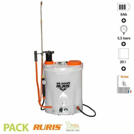 Pulvérisateur manuel électrique 20 litres batterie 12v Ruris RS2000 lance télescopique - Blanc