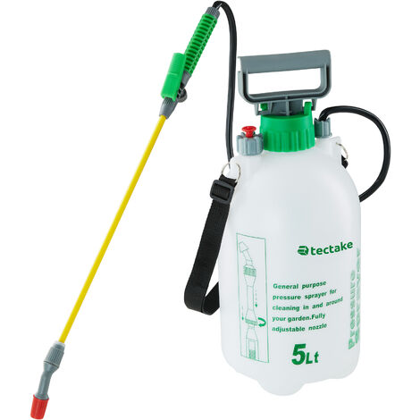 Pulverizador a presión 5l - pulverizador manual de agua, pulverizadora para riego homogéneo con correa ajustable, rociador con válvula de presión - blanco