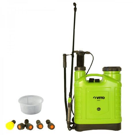 Pulverizador de mochila 16L VITO de presión manual, spray y chorro, accesorios para plantas y jardines, 3 boquillas
