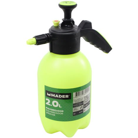 Pulverizador sulfatador manual doméstico 2 litros con 2 boquillas plásticas (Mader Garden 69090)
