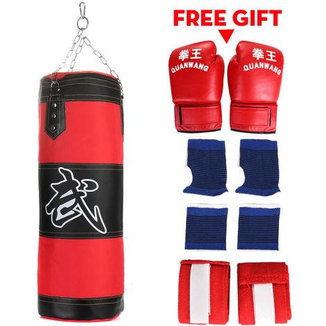 Punching punching bag filled + suspension chain hook gloves bandage sport 80cm