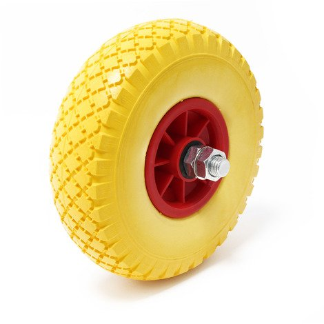 Puncture Proof PU Wheel Wheelbarrow-Complete Size 3.00-4, Solid Rubber, Hardened Steel Spindle