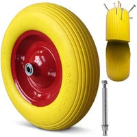 Puncture Proof Wheelbarrow Tyre Including Axle and Rim with Ball Bearings 8 4PR Foam Filled