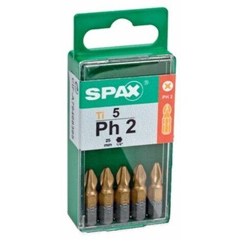 """Punta Atorn Ph2 1/4""""""""-25mm Titanio Spax"""