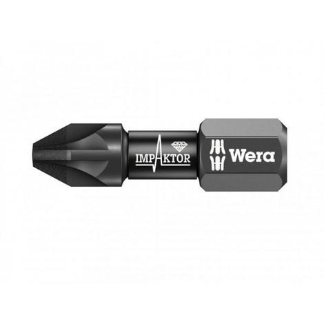 Punta de atornillado Pozidriv de 25 mm Impaktor PZ2 Wera