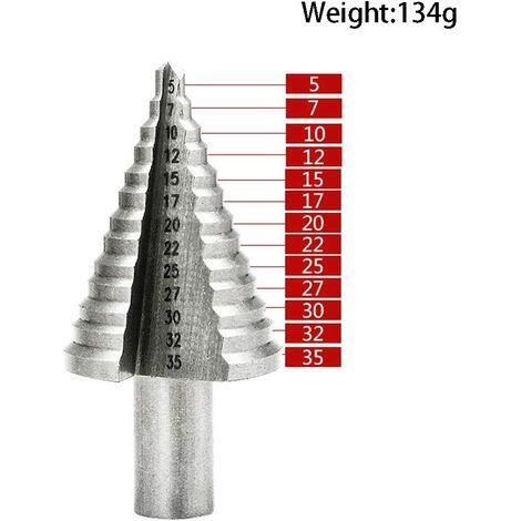 Punta per trapano conica in metallo da 5 mm a 35 mm, punta per trapano a gradino, triangolo in titanio con rivestimento in titanio conico, per trapano avvitatore in acciaio, ottone, legno, plastica