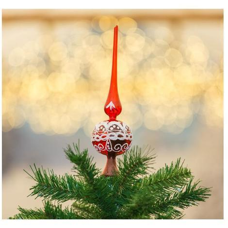 Puntale Albero Di Natale.Puntale Per Albero Di Natale In Vetro Rosso