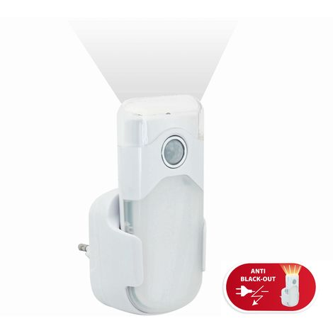 Punto luce con pir + luce anti black out + torcia led spina orizzontale europea - R720H