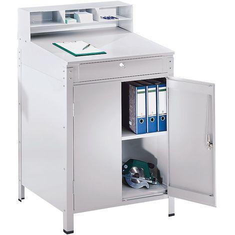 Pupitre avec casiers de tri - avec armoire à porte battante avec 1 tablette - gris clair RAL 7035 - Coloris piétement: gris clair