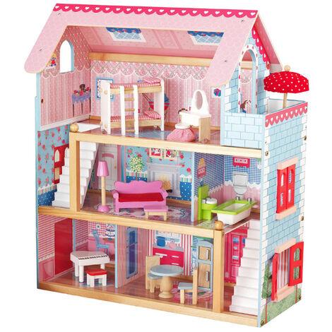 Puppenhaus aus Holz 3 Etagen mit Möbel Zubehör Spielhaus Puppenvilla Puppenstube