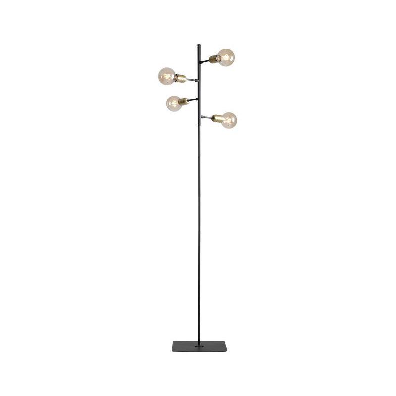 Puppis Stehleuchte - Etage - Wohnzimmer, Etage - Schwarz aus Metall, 34 x 34 x 168 cm, 4 x E27, Max 60W - HOMEMANIA