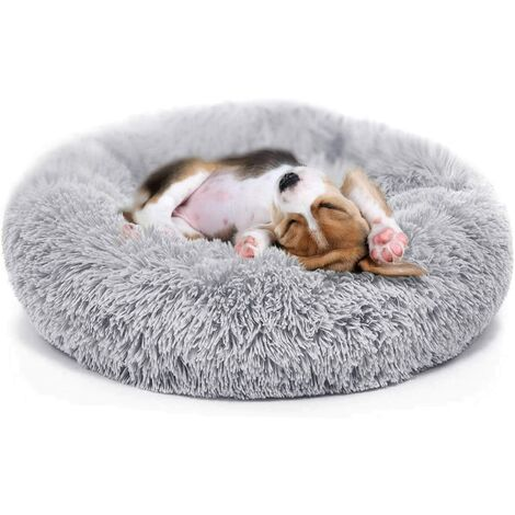 """main image of """"Puppy Bed for Small Medium Dog Soothing Dog Bed Calming, Anti-Anxiety Fluffy Deep Sleep Plush Bed with Bamboo Dog Cooling Mat Available"""""""