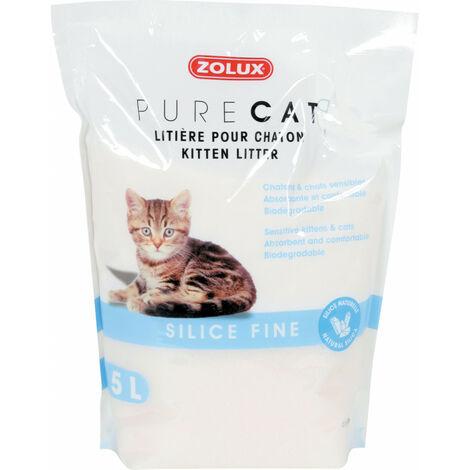 Pura arena de gato para gatitos. Sílice fino. Biodegradable. 5 litros. para los gatitos.