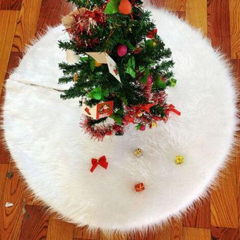 Pura felpa blanca falda del arbol de Navidad Navidad arbol de felpa falda 78cm 90cm 122cm 150cm decoraciones para arboles de navidad, blanco, 90cm