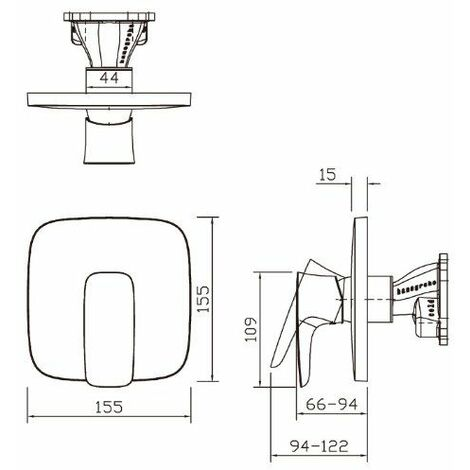 PuraVida Set de finition pour mitigeur douche encastré blanc/chromé