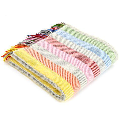 Pure New Wool Throw - Lifestyle Rainbow Grey Stripe Wool Blanket - 150 x 183 centimetres