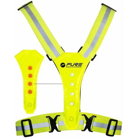 Pure2Improve Chaleco reflectante para correr con luces LED amarillo - Amarillo