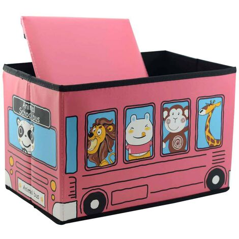 Purff-arcón infantil plegable, modelo autobus animales rosa (40x25x25)
