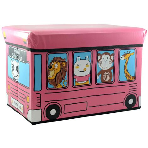 Purff-arcón plegable infantil rosa, modelo autobús animales (48x31x31)