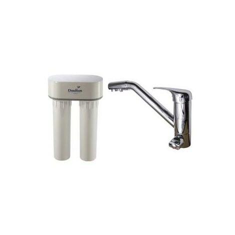 Purificateur d'eau Doulton DUO Anti-calcaire et robinet mitigeur 3 voies classique Inox brillant