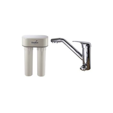 Purificateur d'eau Doulton DUO CALCAIRE 3072 + Robinet mitigeur 3 voies classique brillant
