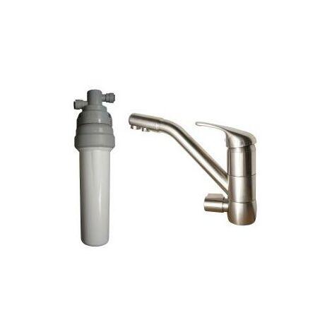 Purificateur d'eau Doulton ECOFAST + Robinet mitigeur 3 voies classique brossé