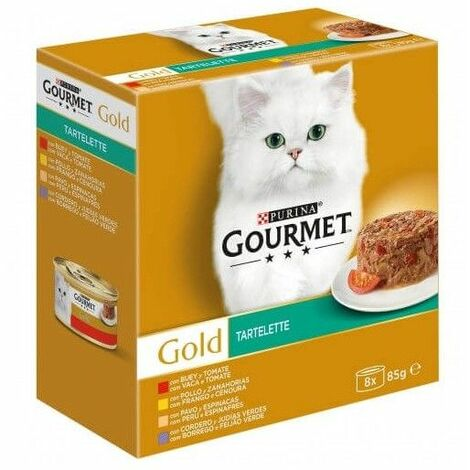 Purina GOURMET GOLD TARTELETTE, buey y pollo,12 ud para gatos 4 x 85 gr.