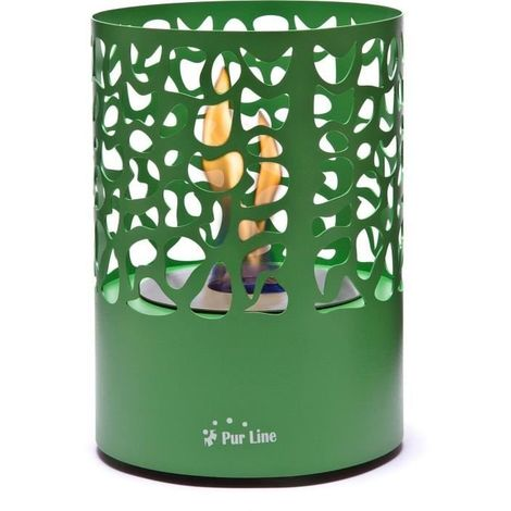 PURLINE ASTREA GREY Cheminée bioéthanol de table design de forme ronde verte Pure 2 Improve