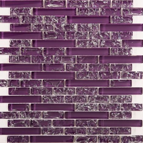 Purple Crackle and Plain Glass Mosaic Wall Tile Sheet MT0168